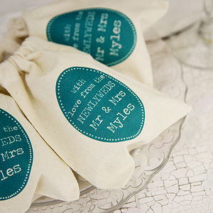 Personalised Wedding Oval Motif Favour Bag