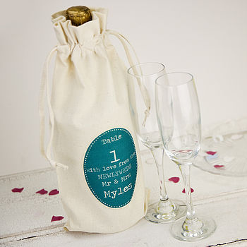 Personalised Wedding Table Number Bottle Bag