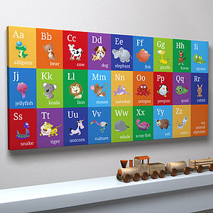 Animal Alphabet Canvas Print - pictures & prints for children