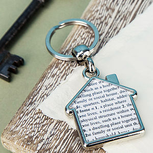 'Home' Word Definition House Keyring