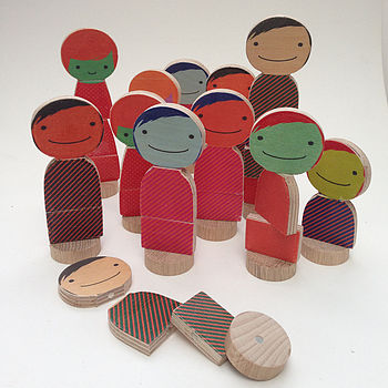 Set Of Two Wooden Magnetic People