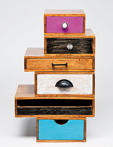 Upcycled Drawer Tower - bedroom