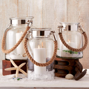 Nickel Plated Glass Jar With Rope Handle - lights & candles