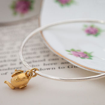 Gold Skinny Teapot Charm Bangle