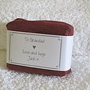 personalised gardeners soap in burgundy wrap