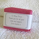 personalised gardeners soap in pink wrap