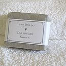 personalised gardeners soap in pale grey wrap