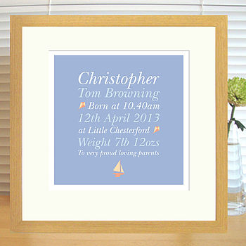 boy;s birth print in oak frame