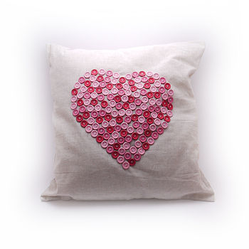 Button Heart Linen Cushion