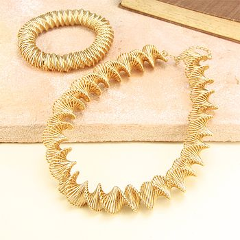 Gold Woven Twist Necklace And Bracelet