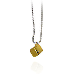 Cube Pendant With White Diamond - necklaces & pendants