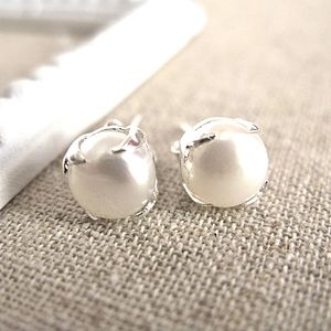 Silver Freshwater Pearl Bud Earrings - earrings