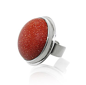 Adjustable Goldstone Silver Ring - rings