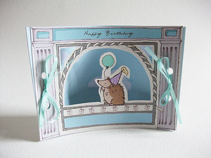 Mini Theatre Hedgehog Birthday Card