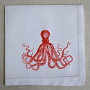 Octopus Linen Table Napkin Orange