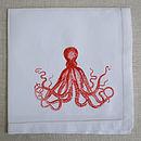Octopus Linen Table Napkin Orange