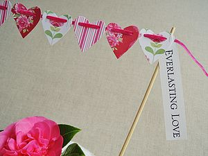 Tilda Heart Cake Bunting With Greeting Label - cake decoration