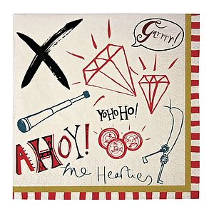 Ahoy There Pirate Napkins - bed, bath & table linen