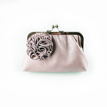 Ruffelle Adele Leather Clutch Bag Limited Edition in Pearlised Lilac