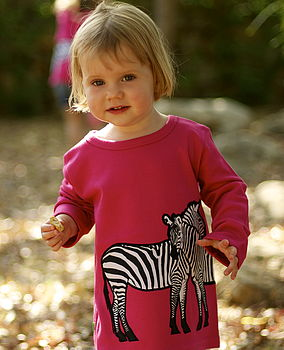 Organic Zebra Print Long Sleeve T Shirt