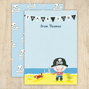 Personalised Boy's Pirate Thank You Cards - shop by category
