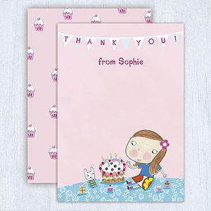 Personalised Birthday Cake Thank You Cards