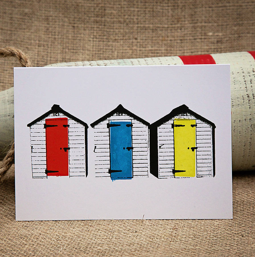 Beach huts card x2 designs by claire close for Beach hut designs