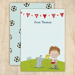 Personalised Boy's Football Thank You Cards