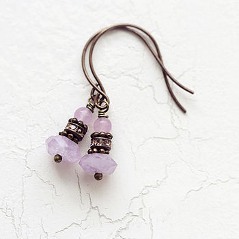 Amethyst And Jade Gemstone Earrings