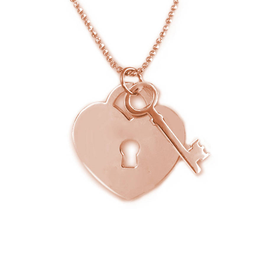 Personalised heart lock with key pendant by anna lou of london personalised heart lock with key pendant aloadofball Gallery