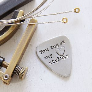 'You Tug At My Heart Strings' Guitar Plectrum - funny valentine's gifts