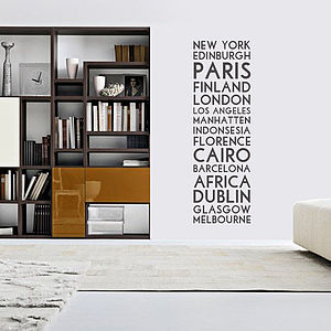 'Personalised Destination' Wall Sticker - wall stickers