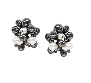 Silver Pearl Stud Earrings - earrings
