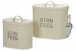 Bird Feed Enamel Storage Tin - home accessories