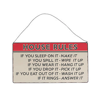 'House Rules' Hanging Metal Sign