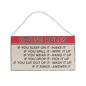 'House Rules' Hanging Metal Sign - decorative accessories