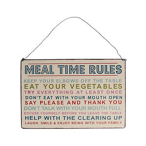 'Meal Time Rules' Hanging Metal Sign - outdoor decorations