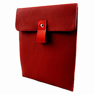 Handcrafted Red Leather Case For iPad