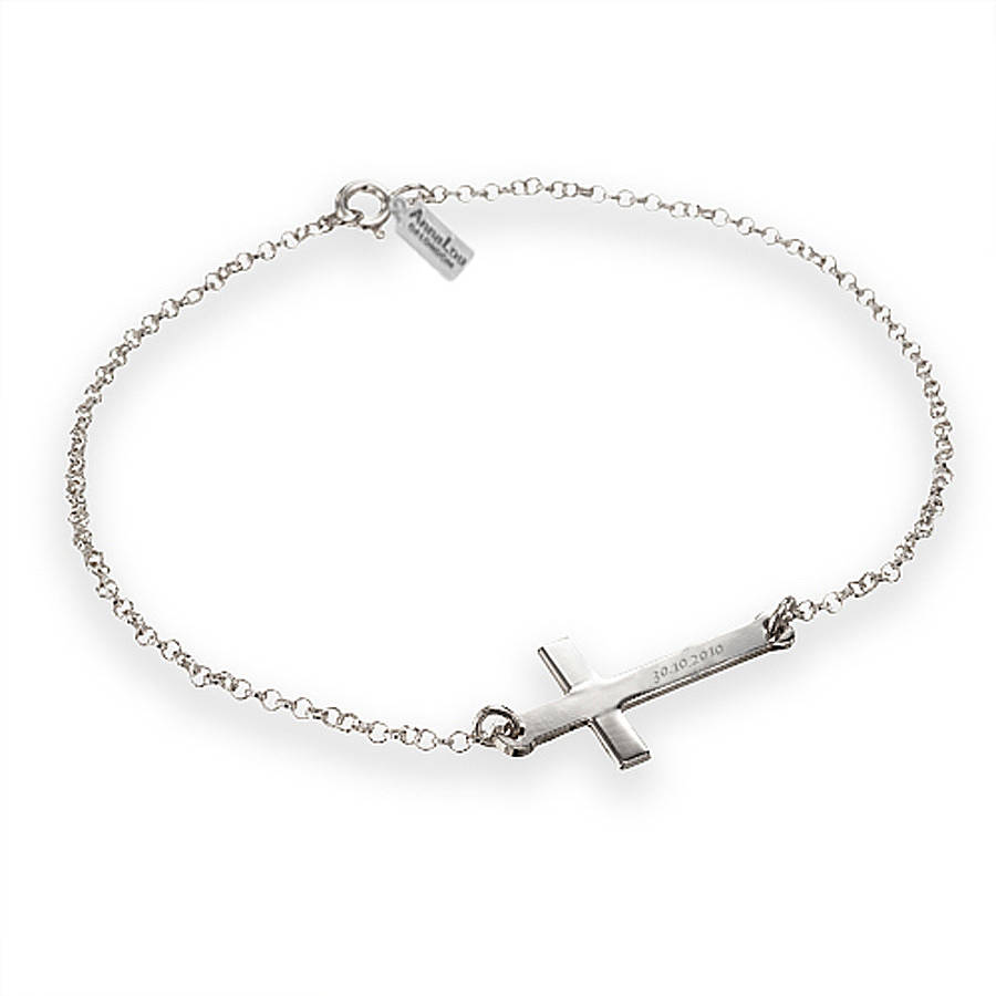 Well-liked engraved cross bracelet by anna lou of london | notonthehighstreet.com KC33