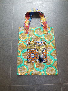 African Fell Fabric Sack Size Shopper Bag - shoulder bags