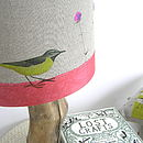 Wagtail And Wildflower Linen Lampshade