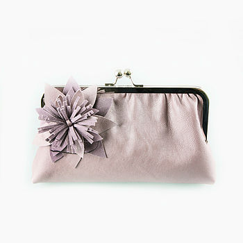 Large  Amelia Leather Clutch Bag in Pearlised Lilac
