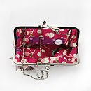 Large Amelia Leather Clutch Bag Example of Lining Fabric and Hidden Chain