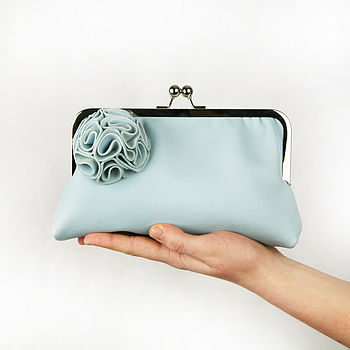 Large Ruffelle Adele Leather Clutch Bag Limted Edition in Blue