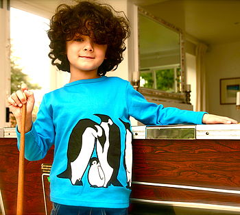 Organic Penguin Print Long Sleeve T Shirt