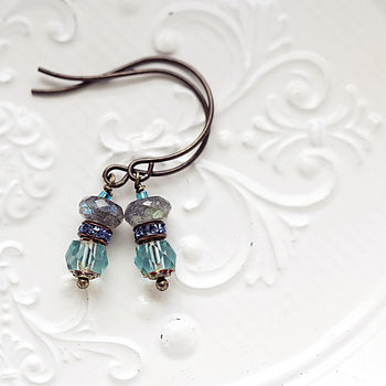Glass And Labradorite Gemstone Earrings
