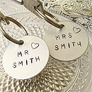 Personalised 'Mr & Mrs' Wedding Key Ring Pair
