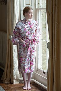 Kimono Dressing Gown In Rose Print - the morning of the big day