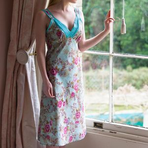 Ladies Lace Trim Nightie In Blue Rose Print - lingerie & nightwear