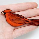 Red Cardinal Bird Wooden Brooch